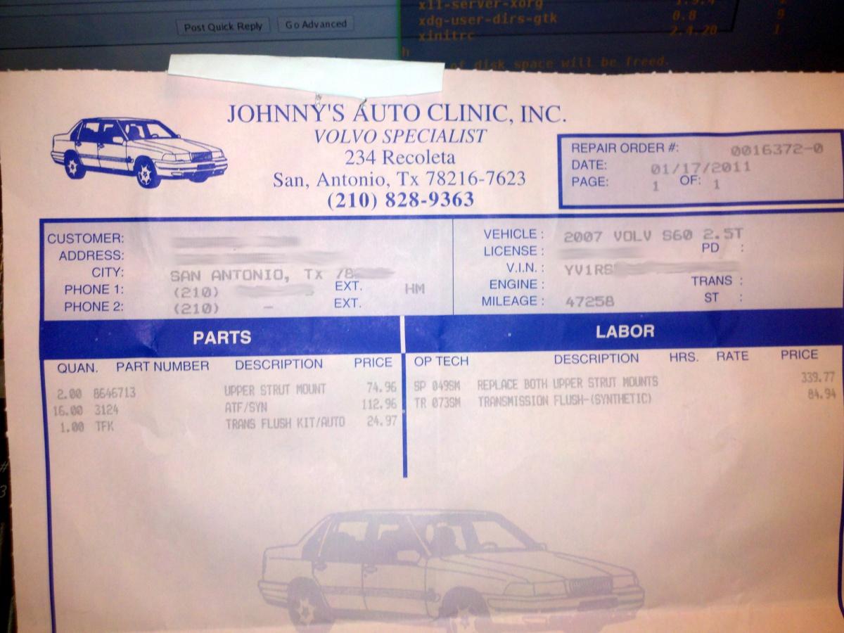 mechanic receipt